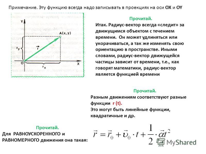Прочитай. Итак. Радиус-вектор всегда «следит» за движущимся объектом с течением времени. Он может удлиняться или укорачиваться, а так же изменять свою ориентацию в пространстве. Иными словами, радиус-вектор движущейся частицы зависит от времени, т.е.