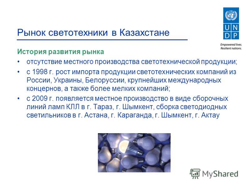 Рынок светотехники в Казахстане История развития рынка отсутствие местного производства светотехнической продукции; с 1998 г. рост импорта продукции светотехнических компаний из России, Украины, Белоруссии, крупнейших международных концернов, а также