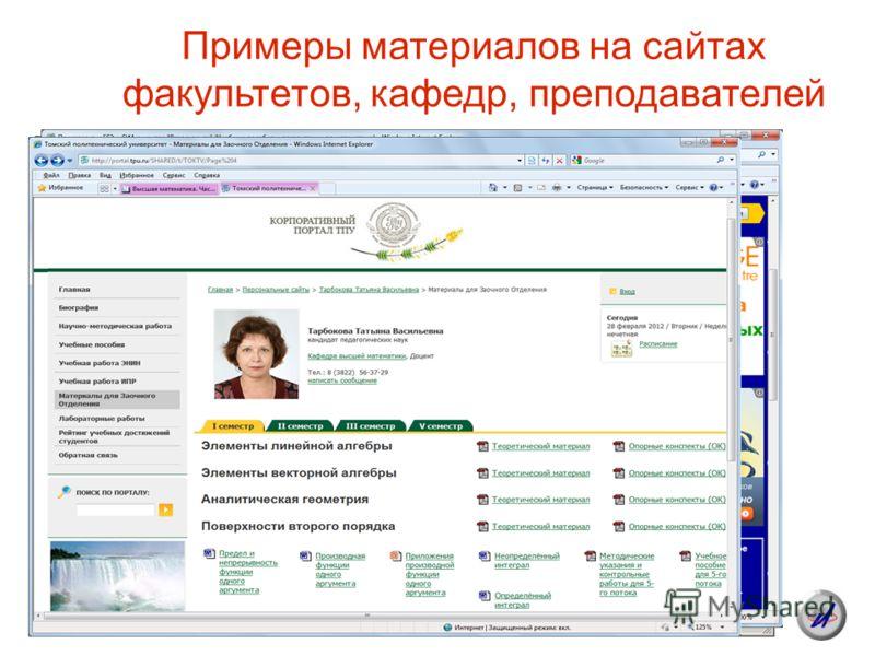 Примеры материалов на сайтах факультетов, кафедр, преподавателей