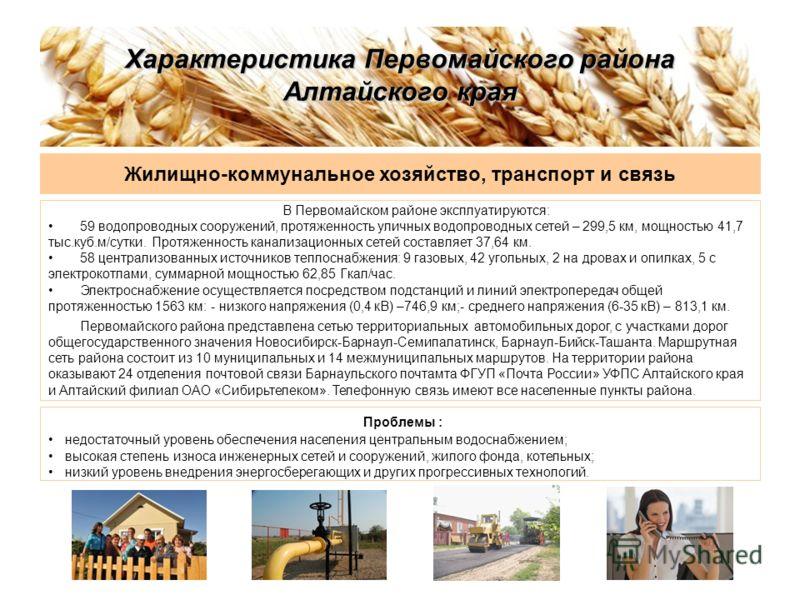 Характеристика Первомайского района Алтайского края Жилищно-коммунальное хозяйство, транспорт и связь В Первомайском районе эксплуатируются: 59 водопроводных сооружений, протяженность уличных водопроводных сетей – 299,5 км, мощностью 41,7 тыс.куб.м/с