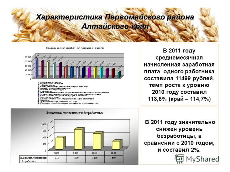 Характеристика Первомайского района Алтайского края В 2011 году среднемесячная начисленная заработная плата одного работника составила 11499 рублей, темп роста к уровню 2010 году составил 113,8% (край – 114,7%) В 2011 году значительно снижен уровень