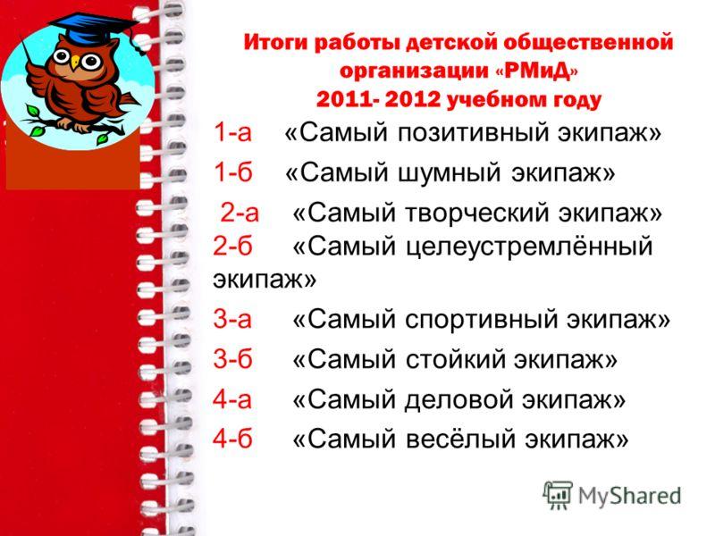 Итоги работы детской общественной организации «РМиД» 2011- 2012 учебном году 1-а «Самый позитивный экипаж» 1-б «Самый шумный экипаж» 2-а «Самый творческий экипаж» 2-б «Самый целеустремлённый экипаж» 3-а «Самый спортивный экипаж» 3-б «Самый стойкий эк