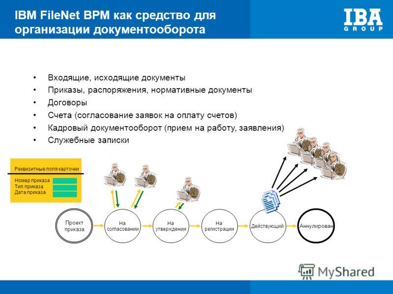 IBM FileNet BPM как средство для организации документооборота Входящие, исходящие документы Приказы, распоряжения, нормативные документы Договоры Счета (согласование заявок на оплату счетов) Кадровый документооборот (прием на работу, заявления) Служе