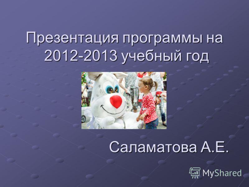 Презентация программы на 2012-2013 учебный год Саламатова А.Е.