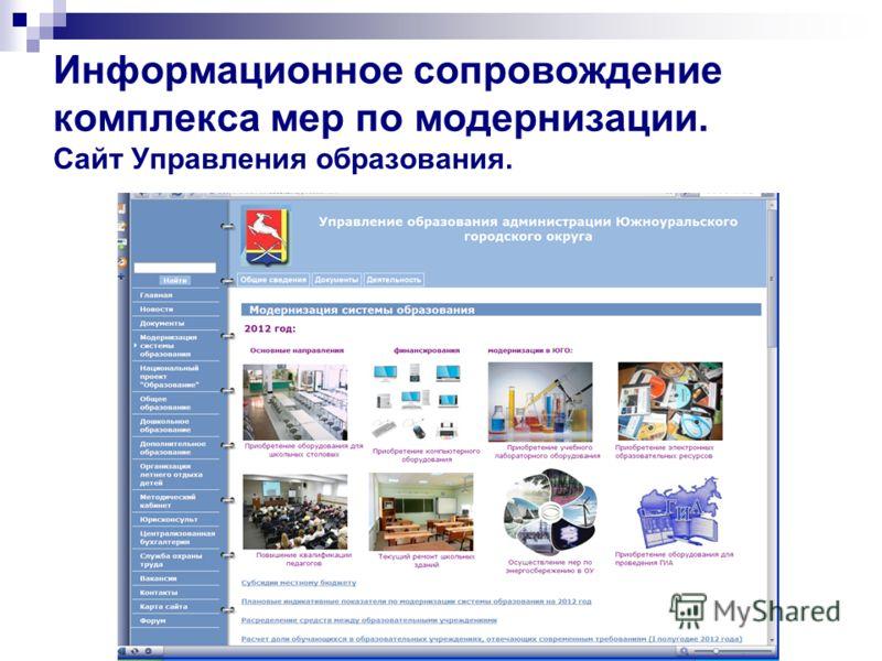 Информационное сопровождение комплекса мер по модернизации. Сайт Управления образования.