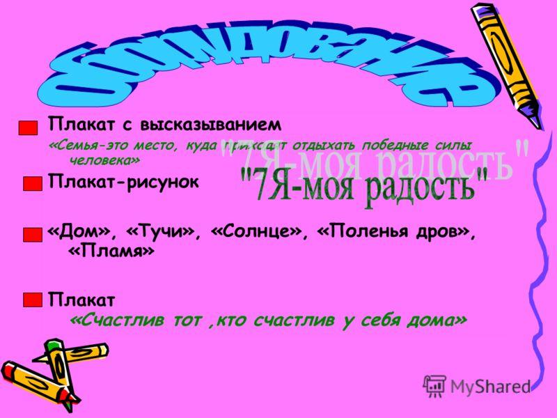 Плакат с высказыванием «Семья-это место, куда приходят отдыхать победные силы человека» Плакат-рисунок «Дом», «Тучи», «Солнце», «Поленья дров», «Пламя» Плакат «Счастлив тот,кто счастлив у себя дома»
