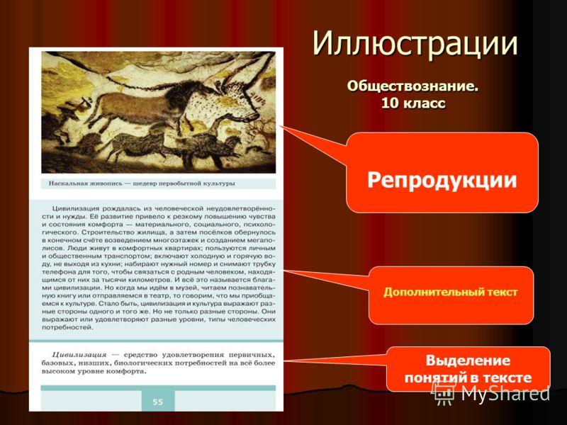 Иллюстрации Репродукции Дополнительный текст Выделение понятий в тексте Обществознание. 10 класс