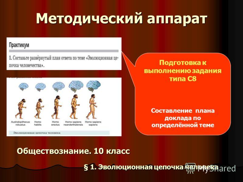 Методический аппарат Подготовка к выполнению задания типа С8 Составление плана доклада по определённой теме Обществознание. 10 класс § 1. Эволюционная цепочка человека