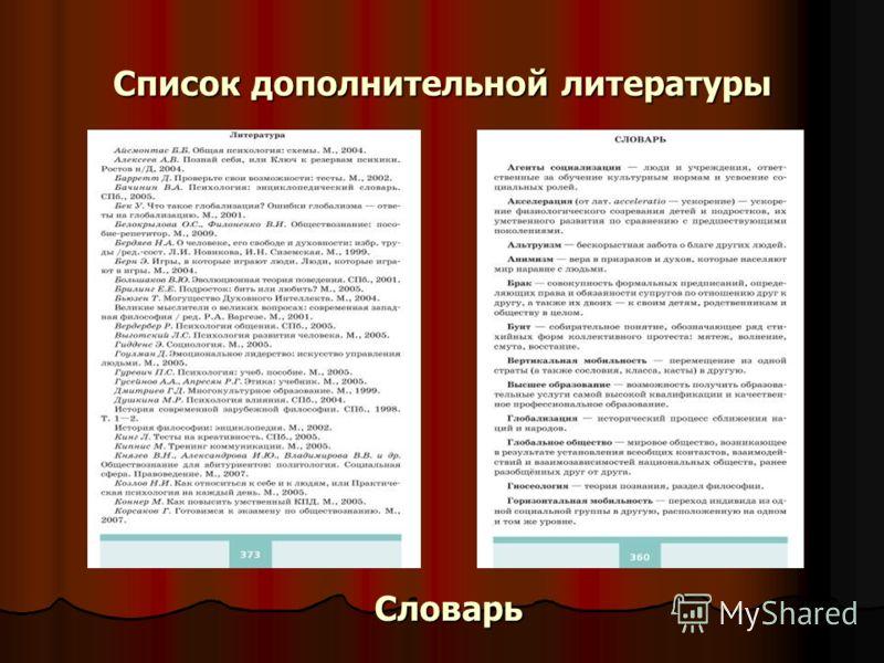 Список дополнительной литературы Словарь