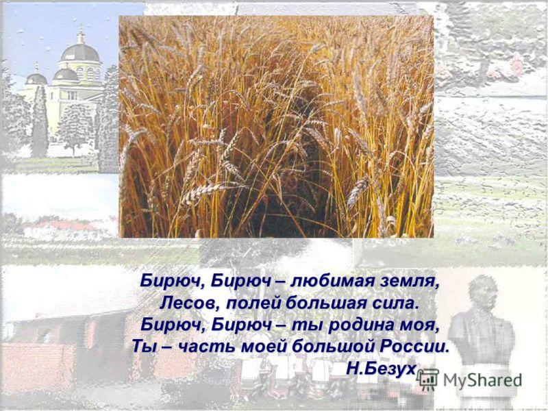 Бирюч, Бирюч – любимая земля, Лесов, полей большая сила. Бирюч, Бирюч – ты родина моя, Ты – часть моей большой России. Н.Безух