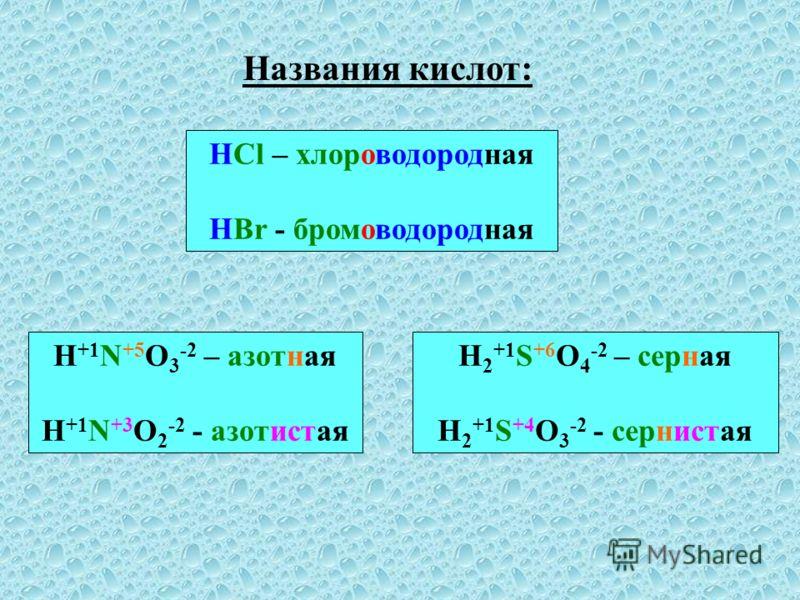Названия кислот: HCl – хлороводородная HBr - бромоводородная H +1 N +5 O 3 -2 – азотная H +1 N +3 O 2 -2 - азотистая H 2 +1 S +6 O 4 -2 – серная H 2 +1 S +4 O 3 -2 - сернистая