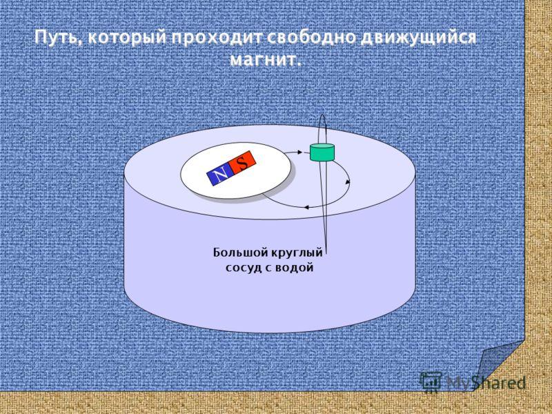 Путь, который проходит свободно движущийся магнит. Большой круглый сосуд с водой NS