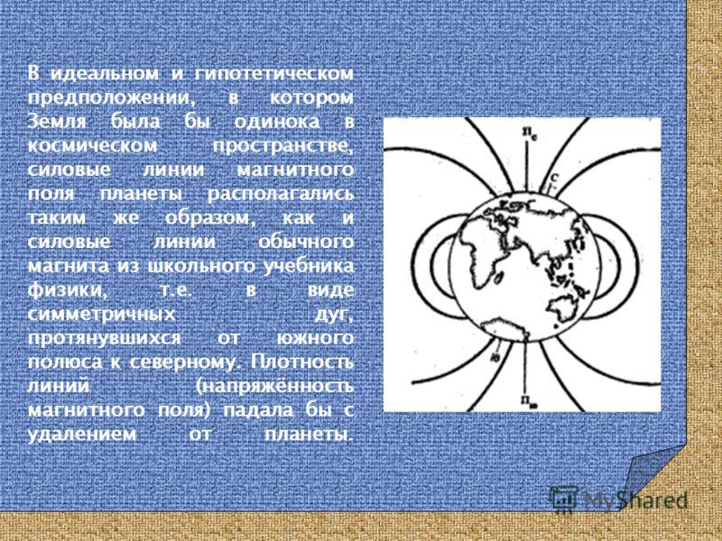 В идеальном и гипотетическом предположении, в котором Земля была бы одинока в космическом пространстве, силовые линии магнитного поля планеты располагались таким же образом, как и силовые линии обычного магнита из школьного учебника физики, т.е. в ви