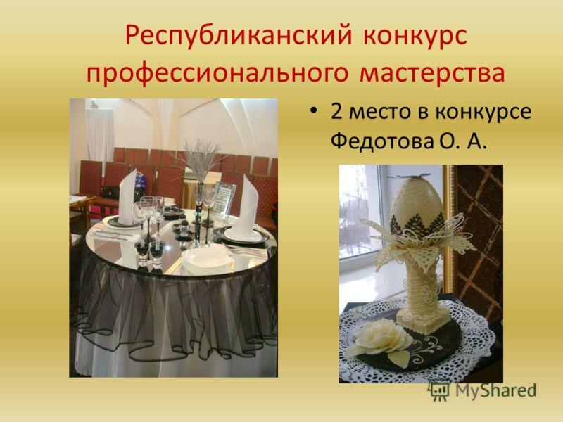 Республиканский конкурс профессионального мастерства 2 место в конкурсе Федотова О. А.