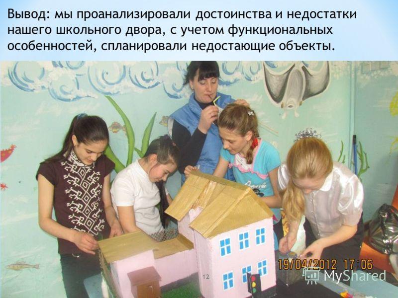 Вывод: мы проанализировали достоинства и недостатки нашего школьного двора, с учетом функциональных особенностей, спланировали недостающие объекты. 12