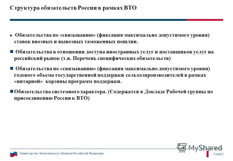 Министерство Экономического Развития Российской Федерации Слайд 2 Структура обязательств России в рамках ВТО Обязательства по «связыванию» (фиксация максимально допустимого уровня) ставок ввозных и вывозных таможенных пошлин. Обязательства в отношени