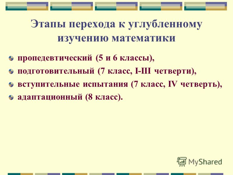 Этапы перехода к углубленному изучению математики пропедевтический (5 и 6 классы), подготовительный (7 класс, I-III четверти), вступительные испытания (7 класс, IV четверть), адаптационный (8 класс).
