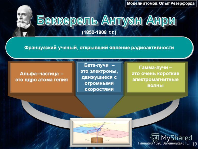 (1852-1908 г.г.) Французский ученый, открывший явление радиоактивности Альфа–частица – это ядро атома гелия Гамма-лучи – это очень короткие электромагнитные волны Бета-лучи – это электроны, движущиеся с огромными скоростями 19 Модели атомов. Опыт Рез