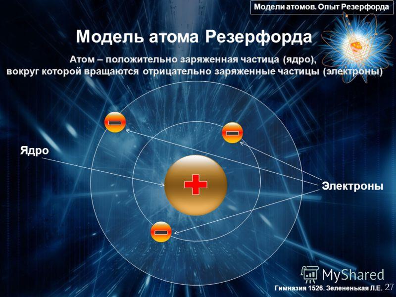 Модели атомов. Опыт Резерфорда 27 Гимназия 1526. Зелененькая Л.Е. Модель атома Резерфорда Электроны Ядро
