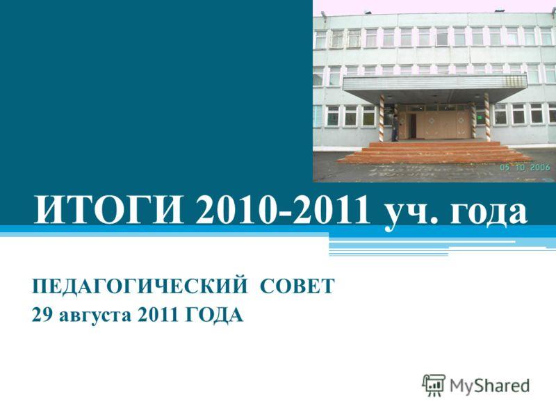 ИТОГИ 2010-2011 уч. года ПЕДАГОГИЧЕСКИЙ СОВЕТ 29 августа 2011 ГОДА