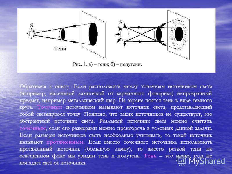 Обратимся к опыту. Если расположить между точечным источником света (например, маленькой лампочкой от карманного фонарика) непрозрачный предмет, например металлический шар. На экране поятся тень в виде темного круга. Точечным источником называют исто