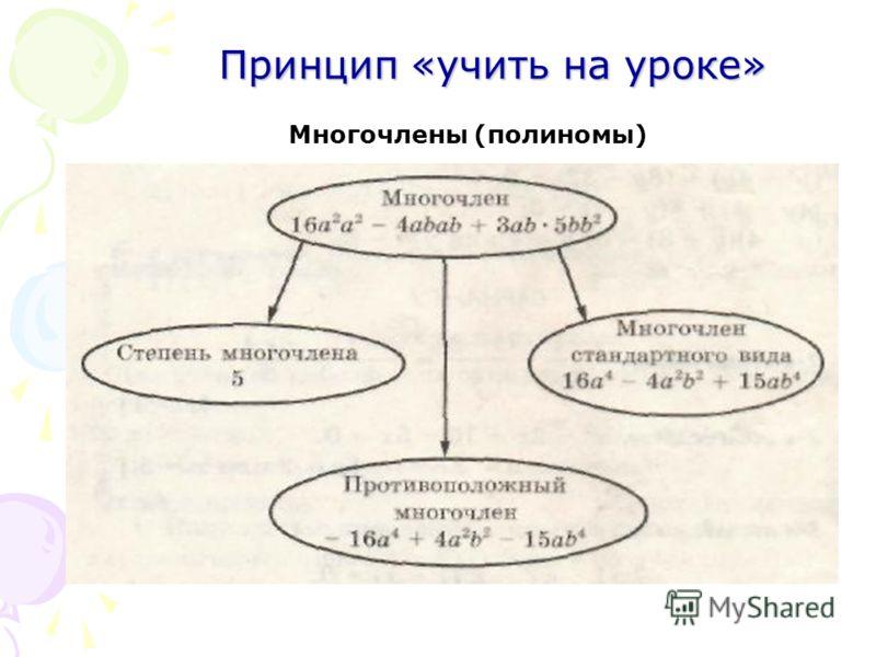 Принцип «учить на уроке» Многочлены (полиномы)