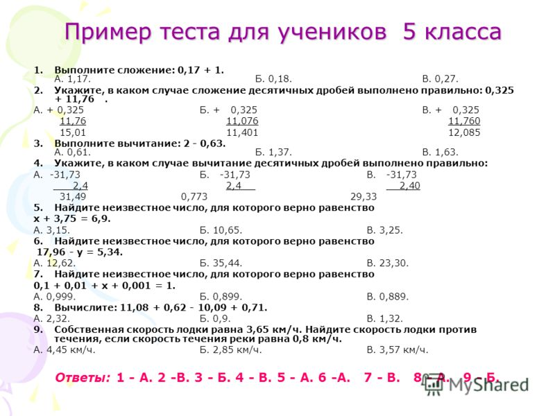 Пример теста для учеников 5 класса 1.Выполните сложение: 0,17 + 1. А. 1,17. Б. 0,18. В. 0,27. 2.Укажите, в каком случае сложение десятичных дробей выполнено правильно: 0,325 + 11,76. А. + 0,325Б. + 0,325В. + 0,325 11,76 11,076 11,760 15,01 11,401 12,
