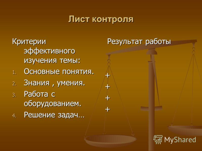 Лист контроля Критерии эффективного изучения темы: 1. Основные понятия. 2. Знания, умения. 3. Работа с оборудованием. 4. Решение задач… Результат работы +