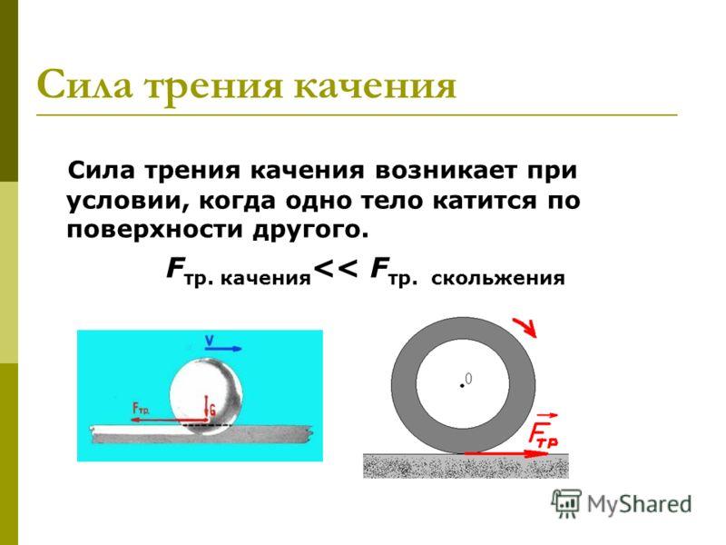 Сила трения качения Сила трения качения возникает при условии, когда одно тело катится по поверхности другого. F тр. качения