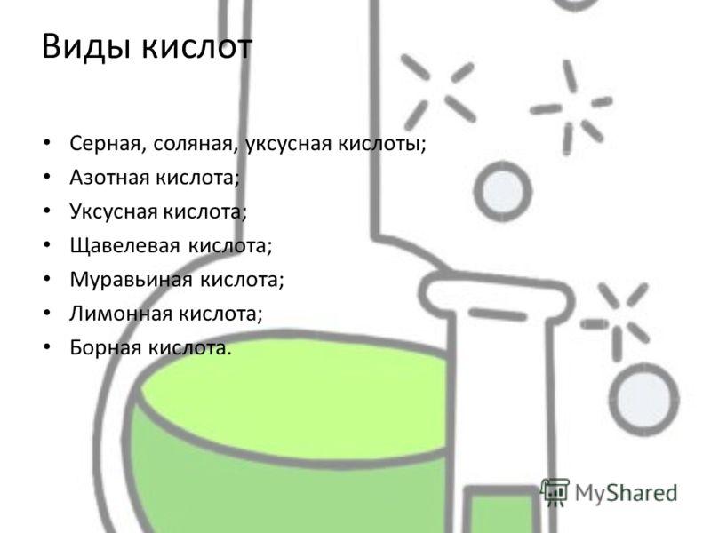 Виды кислот Серная, соляная, уксусная кислоты; Азотная кислота; Уксусная кислота; Щавелевая кислота; Муравьиная кислота; Лимонная кислота; Борная кислота.