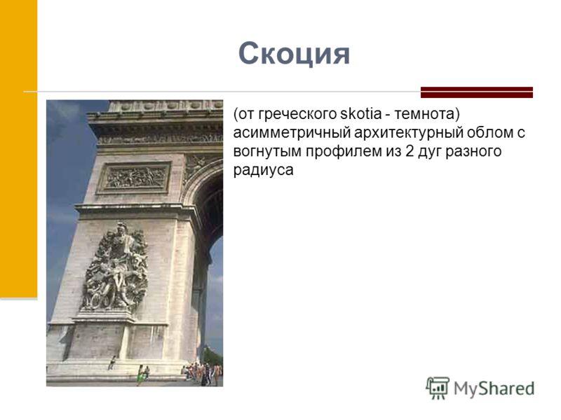 Скоция (от греческого skotia - темнота) асимметричный архитектурный облом с вогнутым профилем из 2 дуг разного радиуса