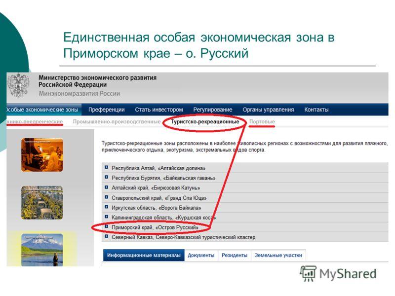 Единственная особая экономическая зона в Приморском крае – о. Русский