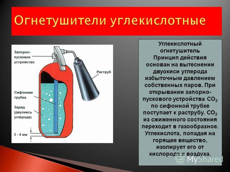 Огнетушители воздушно-пенные Используются при тушении пожаров класса А и В (дерево,бумага, краски и ГСМ). Запрещается применение для тушения электроустановок, находящихся под напряжением! В отличие от закачных огнетушителей, в ОВП-10 (б) вытесняющий