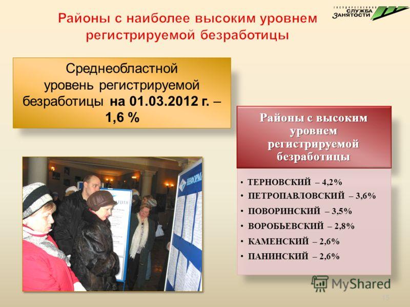 Среднеобластной уровень регистрируемой безработицы на 01.03.2012 г. – 1,6 % Районы с высоким уровнем регистрируемой безработицы ТЕРНОВСКИЙ – 4,2% ПЕТРОПАВЛОВСКИЙ – 3,6% ПОВОРИНСКИЙ – 3,5% ВОРОБЬЕВСКИЙ – 2,8% КАМЕНСКИЙ – 2,6% ПАНИНСКИЙ – 2,6% 15