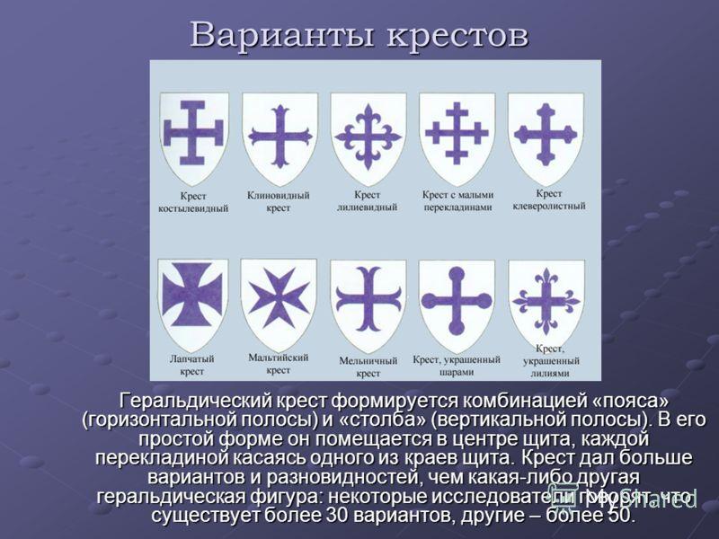 Варианты крестов Геральдический крест формируется комбинацией «пояса» (горизонтальной полосы) и «столба» (вертикальной полосы). В его простой форме он помещается в центре щита, каждой перекладиной касаясь одного из краев щита. Крест дал больше вариан