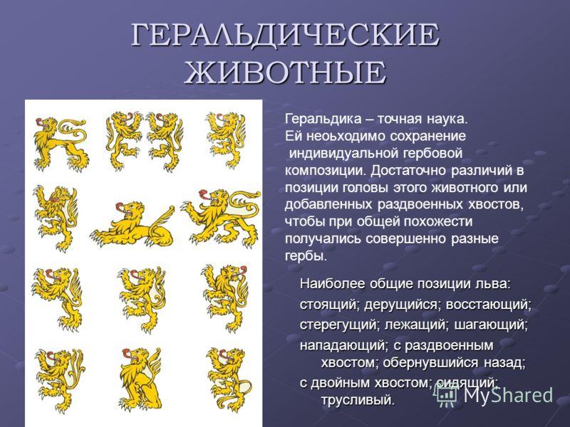 ГЕРАЛЬДИЧЕСКИЕ ЖИВОТНЫЕ Наиболее общие позиции льва: стоящий; дерущийся; восстающий; стерегущий; лежащий; шагающий; нападающий; с раздвоенным хвостом; обернувшийся назад; с двойным хвостом; сидящий; трусливый. Геральдика – точная наука. Ей неоьходимо