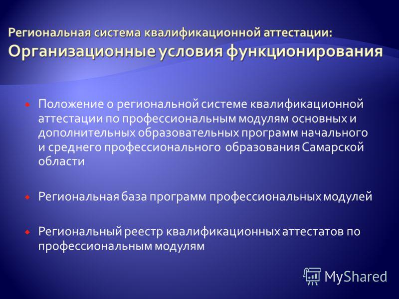 Положение о региональной системе квалификационной аттестации по профессиональным модулям основных и дополнительных образовательных программ начального и среднего профессионального образования Самарской области Региональная база программ профессиональ