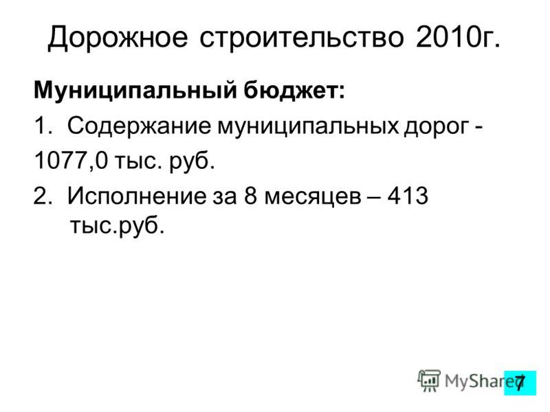 Дорожное строительство 2010г. Муниципальный бюджет: 1. Содержание муниципальных дорог - 1077,0 тыс. руб. 2. Исполнение за 8 месяцев – 413 тыс.руб. 7