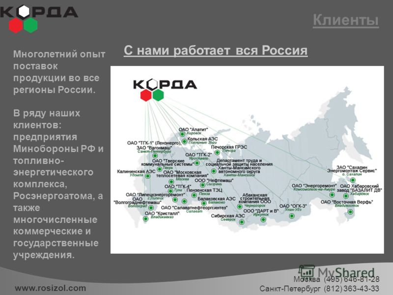 Клиенты www.rosizol.com Многолетний опыт поставок продукции во все регионы России. В ряду наших клиентов: предприятия Минобороны РФ и топливно- энергетического комплекса, Росэнергоатома, а также многочисленные коммерческие и государственные учреждени