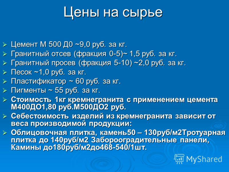 Цены на сырье Цемент М 500 Д0 ~9,0 руб. за кг. Цемент М 500 Д0 ~9,0 руб. за кг. Гранитный отсев (фракция 0-5)~ 1,5 руб. за кг. Гранитный отсев (фракция 0-5)~ 1,5 руб. за кг. Гранитный просев (фракция 5-10) ~2,0 руб. за кг. Гранитный просев (фракция 5