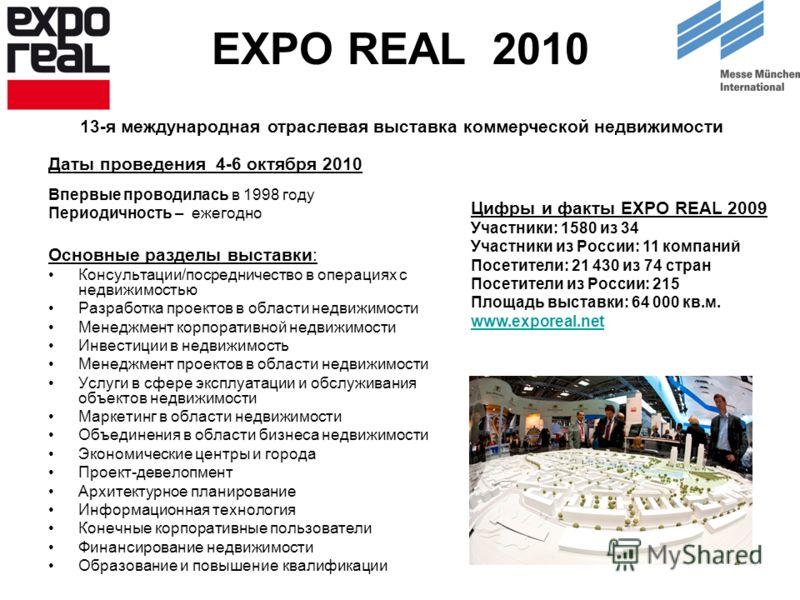 EXPO REAL 2010 Даты проведения 4-6 октября 2010 Впервые проводилась в 1998 году Периодичность – ежегодно Основные разделы выставки: Консультации/посредничество в операциях с недвижимостью Разработка проектов в области недвижимости Менеджмент корпорат