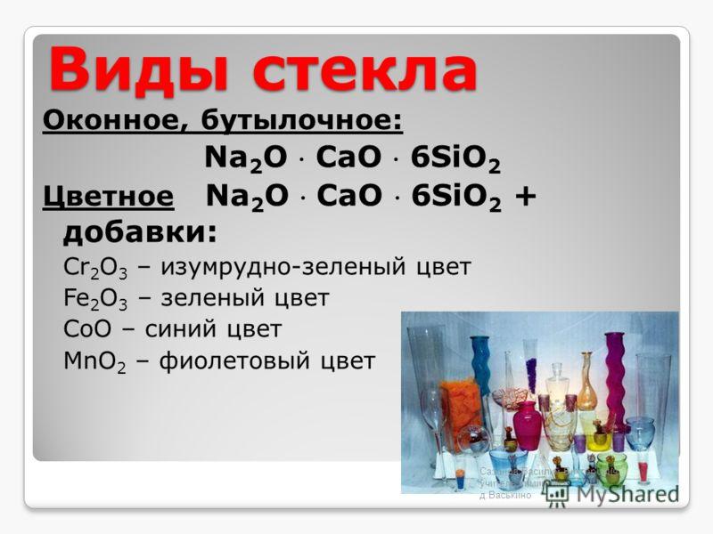 Виды стекла Оконное, бутылочное: Na 2 O СaO 6SiO 2 Цветное Na 2 O СaO 6SiO 2 + добавки: Cr 2 O 3 – изумрудно-зеленый цвет Fe 2 O 3 – зеленый цвет CoO – синий цвет MnO 2 – фиолетовый цвет Сазонов Василий Викторович, учитель химии МОУ СОШ д.Васькино