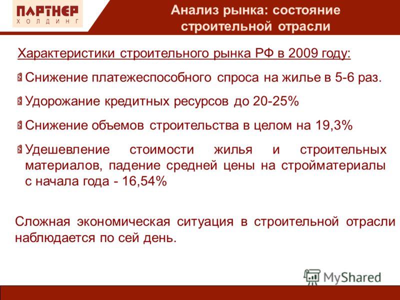 Анализ рынка: состояние строительной отрасли Характеристики строительного рынка РФ в 2009 году: Снижение платежеспособного спроса на жилье в 5-6 раз. Удорожание кредитных ресурсов до 20-25% Снижение объемов строительства в целом на 19,3% Удешевление