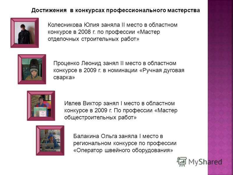 Колесникова Юлия заняла II место в областном конкурсе в 2008 г. по профессии «Мастер отделочных строительных работ» Достижения в конкурсах профессионального мастерства Проценко Леонид занял II место в областном конкурсе в 2009 г. в номинации «Ручная