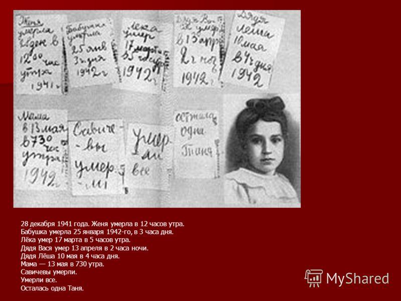 28 декабря 1941 года. Женя умерла в 12 часов утра. Бабушка умерла 25 января 1942-го, в 3 часа дня. Лёка умер 17 марта в 5 часов утра. Дядя Вася умер 13 апреля в 2 часа ночи. Дядя Лёша 10 мая в 4 часа дня. Мама 13 мая в 730 утра. Савичевы умерли. Умер