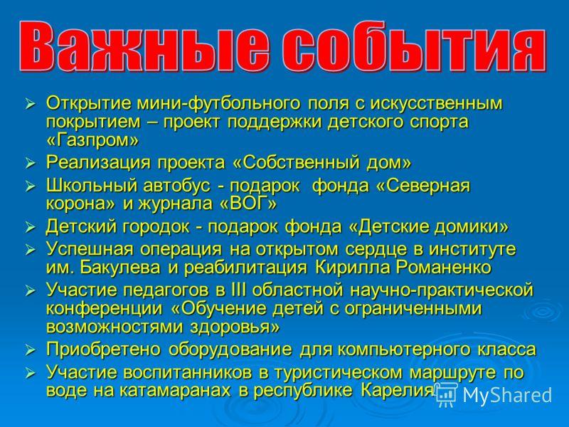 Открытие мини-футбольного поля с искусственным покрытием – проект поддержки детского спорта «Газпром» Открытие мини-футбольного поля с искусственным покрытием – проект поддержки детского спорта «Газпром» Реализация проекта «Собственный дом» Реализаци