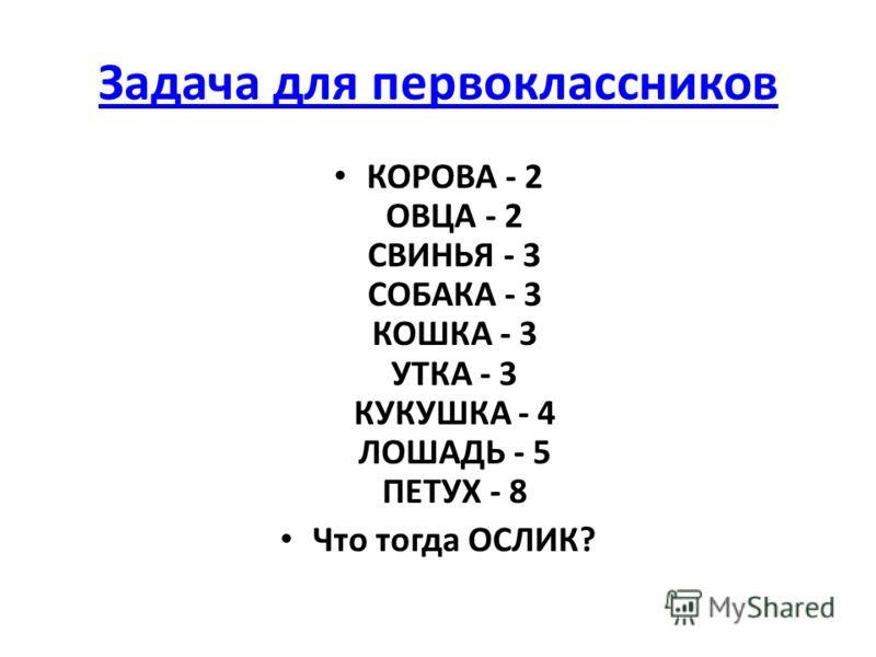 Задача для первоклассников КОРОВА - 2 ОВЦА - 2 СВИНЬЯ - 3 СОБАКА - 3 КОШКА - 3 УТКА - 3 КУКУШКА - 4 ЛОШАДЬ - 5 ПЕТУХ - 8 Что тогда ОСЛИК?