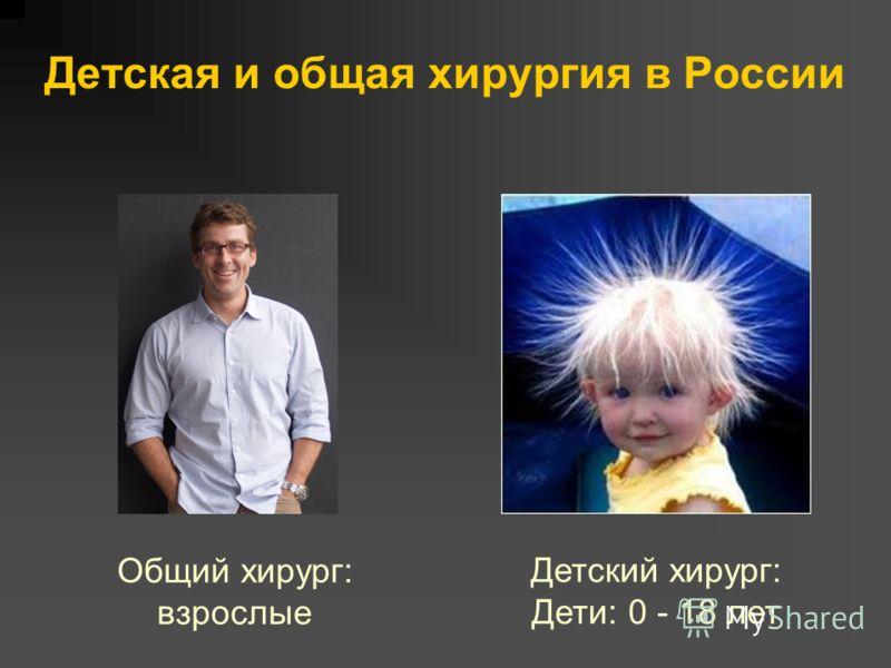 Детская и общая хирургия в России Общий хирург: взрослые Детский хирург: Дети: 0 - 18 лет