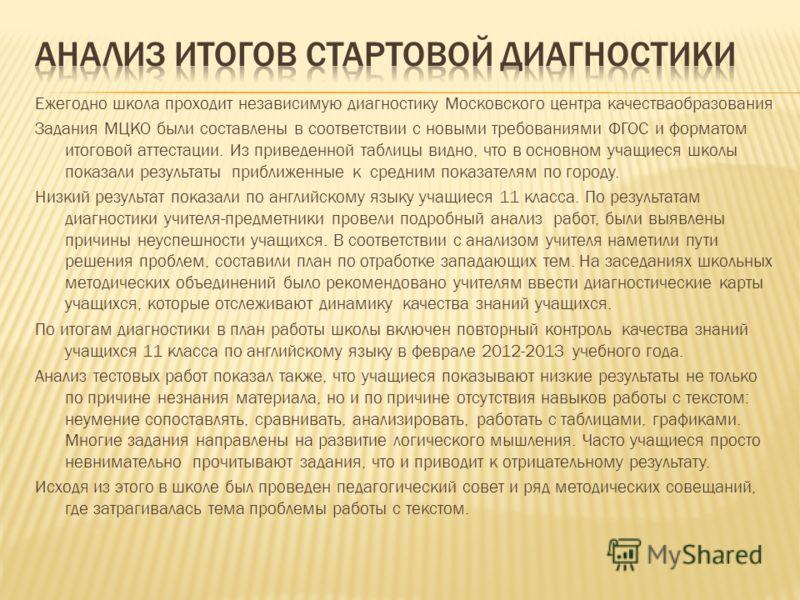 Ежегодно школа проходит независимую диагностику Московского центра качестваобразования Задания МЦКО были составлены в соответствии с новыми требованиями ФГОС и форматом итоговой аттестации. Из приведенной таблицы видно, что в основном учащиеся школы