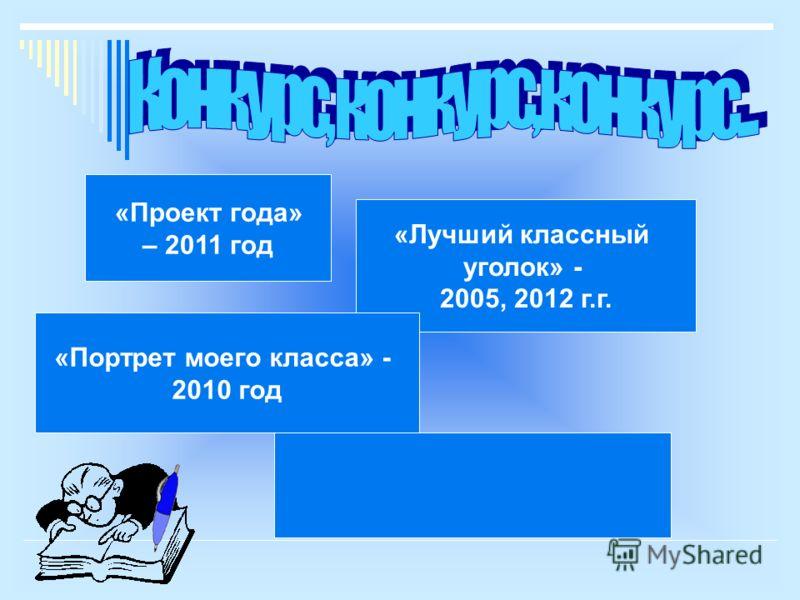 «Проект года» – 2011 год «Лучший классный уголок» - 2005, 2012 г.г. «Портрет моего класса» - 2010 год